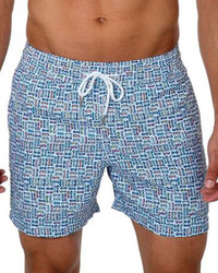 Jared Lang Eyeglasses Print Swim Trunks Blue Pattern