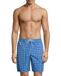 Lacoste Gingham Print Long Taffeta Swim Trunks