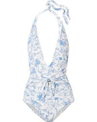 Tory Burch Tie Detailed Printed Halterneck Swimsuit
