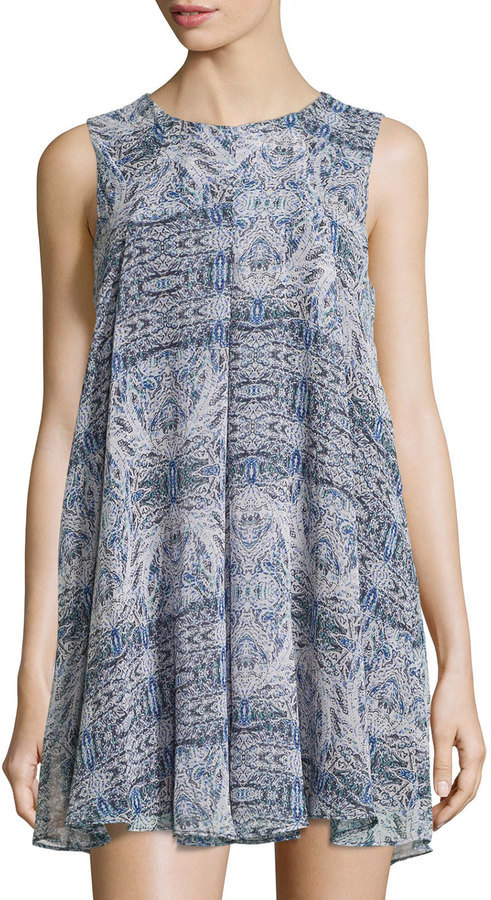 4354a220e855 BCBGeneration Printed Pleated Swing Dress Dark Wave, $99 | Last Call ...