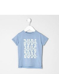 River Island Mini Boys Light Blue Dude T Shirt