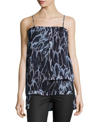 Halston Heritage Layered Feather Print Camisole Blue