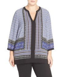 NYDJ Plus Size Print Split Neck Tunic
