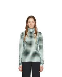 Proenza Schouler Blue And White White Label Gingham Jersey Turtleneck