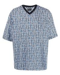 Giorgio Armani Cotton V Neck Print T Shirt