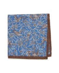 Bonobos Bird Print Wool Pocket Square