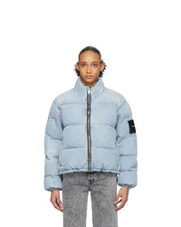 Alexander Wang Blue Bleached Denim Puffer Jacket