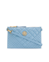 Light Blue Quilted Leather Clutch