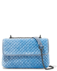 Olimpia watersnake trimmed quilted velvet shoulder bag blue medium 741007