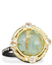 Armenta Old World Midnight Turquoise Quartz Doublet Ring With Diamonds