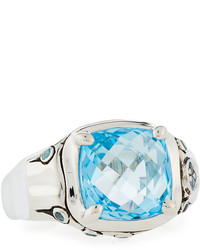 John Hardy Batu Bamboo Sky Blue & Swiss Blue Topaz Cushion Ring, Size 7