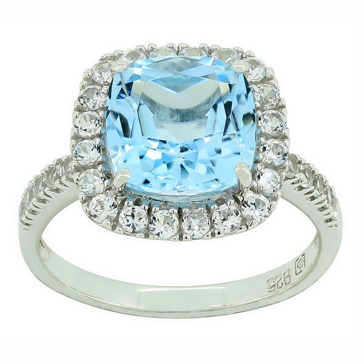 jcpenney Fine Jewelry Blue Topaz Lab Created White Sapphire Sterling
