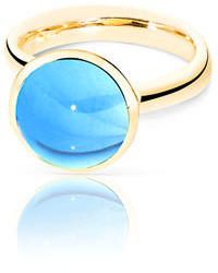 Tamara Comolli Large Bouton Swiss Blue Topaz Cabochon Ring Size 754