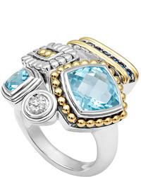 Lagos Montage Blue Stone Diamond Ring Size 7