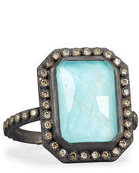 Armenta Old World Midnight Turquoise Quartz Doublet Ring With Champagne Diamonds