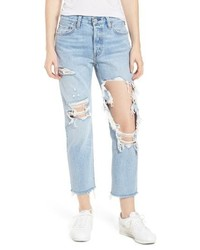 Levi's 501 Ripped Crop Skinny Jeans