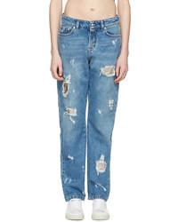 Versus Blue Distressed Boyfriend Jeans