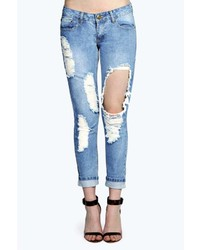 Boohoo Sara Bleach Wash Boyfriend Super Ripped Jeans