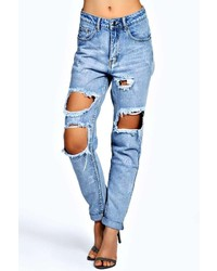 Boohoo Briana Light Blue Extreme Ripped Boyfriend Jeans