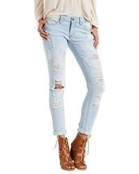 Charlotte Russe Dollhouse Destroyed Light Wash Skinny Jeans