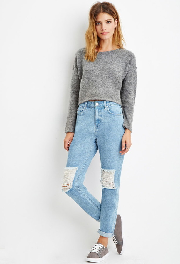 7bca1b9b6e8 Forever 21 Contemporary Life In Progress High Waisted Ripped Jeans, $24 | Forever  21 | Lookastic.com