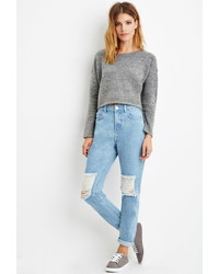 Forever 21 Contemporary Life In Progress High Waisted Ripped Jeans