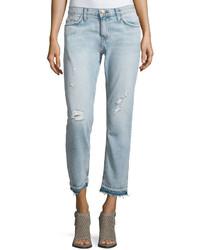 Current/Elliott Cropped Distressed Straight Leg Jeans Sealine Destroy