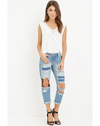 Forever 21 Destroyed Low Rise Capri Jeans