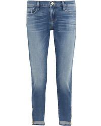 Frame Garcon Distressed Mid Rise Slim Boyfriend Jeans Mid Denim