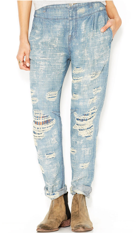 Free People Rugged Destroyed Tapered Boyfriend Jeans | Where to ...