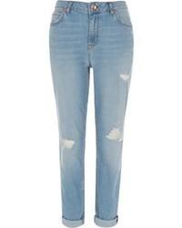 River Island Light Blue Wash Ripped Ashley Boyfriend Jeans