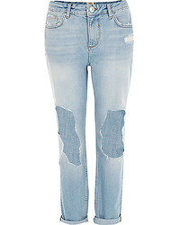 River Island Light Wash Ripped Ultimate Boyfriend Jeans