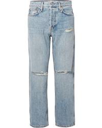 RE/DONE Low Slung Crop Distressed Boyfriend Jeans
