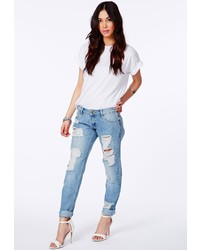 Missguided Dylan Ripped Boyfriend Jeans In Light Vintage