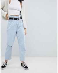 Bershka Paper Bag Waist Jean In Blue