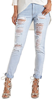 Charlotte Russe Refuge Boyfriend Destroyed Light Wash Jeans ...