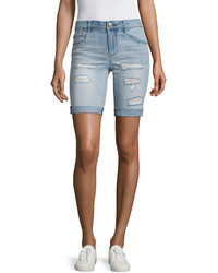 Light Blue Ripped Denim Bermuda Shorts