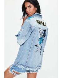 Missguided Blue Embroidered Dropped Shoulder Denim Trucker Jacket