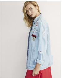 Express Karlie Kloss Oversized Destroyed Embellished Denim Jacket