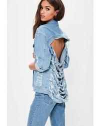 Missguided Light Blue Shredded Back Denim Jacket