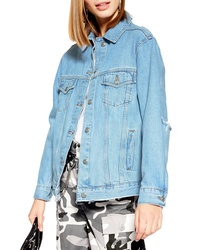 Topshop Rip Elbow Denim Jacket