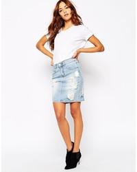Vila Distressed Denim Skirt