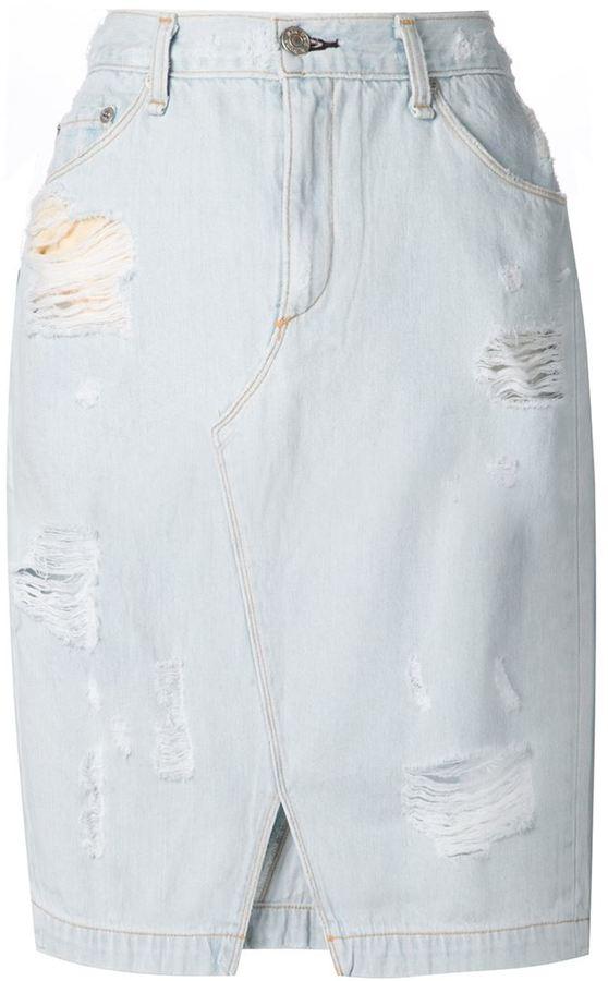 Rag and Bone Rag Bone Jean Ripped Denim Skirt | Where to buy & how ...