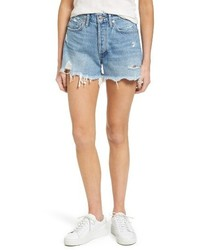 A Gold E Agolde Parker Distressed Denim Shorts