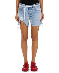 Off-White Co Virgil Abloh Distressed Denim Cutoff Shorts