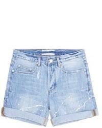 Cocurata Paint Splatter Rolled Denim Shorts