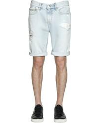 Calvin Klein Jeans Destroyed Bleached Denim Shorts