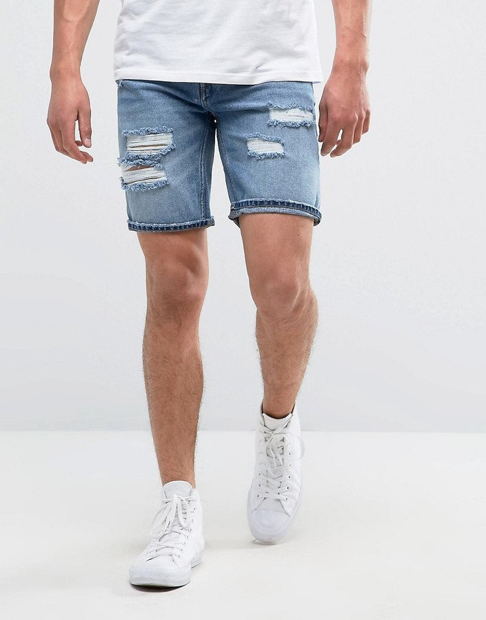 Pull Bear Distressed Denim Short In Mid Wash 35 Asos Lookastic