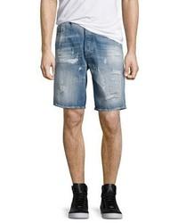 Diesel Distressed Jean Shorts Blue