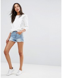Boohoo Frayed Hem Color Block Denim Shorts